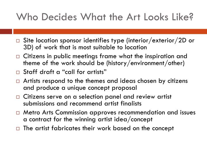 Who Decides What the Art Looks Like?