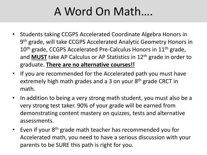 A Word On Math….