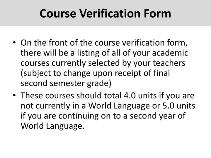 Course Verification Form