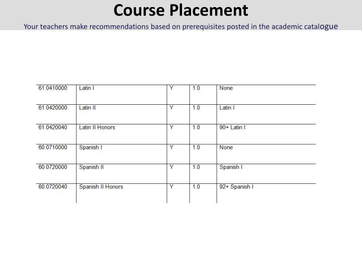 Course Placement