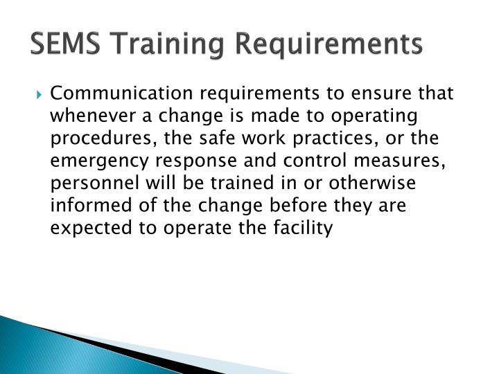SEMS Training Requirements