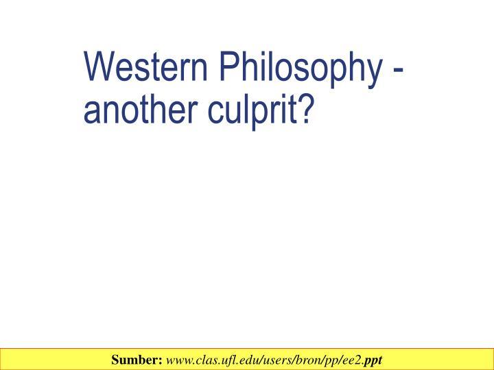 Western Philosophy -another culprit?