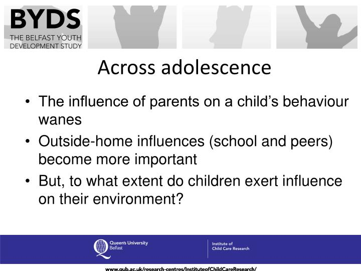 drug influence the importance of peer and family relationship on an adolescent Using a probability sample of 4,230 adolescents from grades 7-12, we used negative binomial regression to estimate the effects of peer and six family variables on the risk of adolescent drug use.