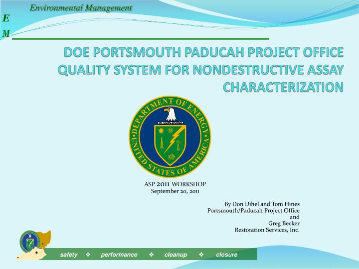 doe portsmouth paducah project office quality system for nondestructive assay characterization n.