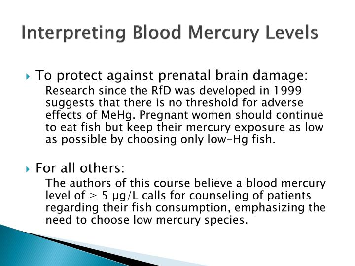 Interpreting Blood Mercury Levels