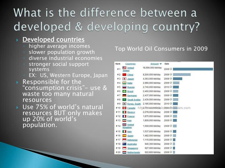 What is the difference between a developed & developing country?