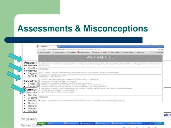Assessments & Misconceptions