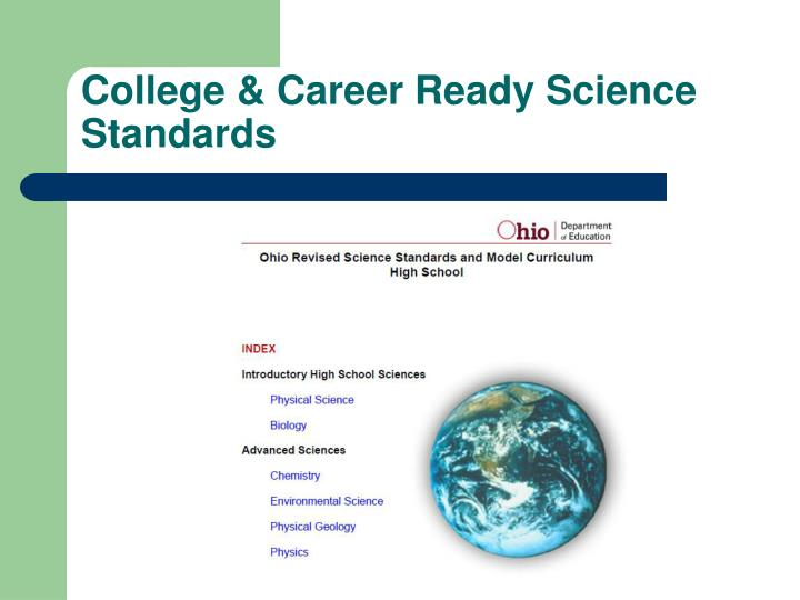 College & Career Ready Science Standards