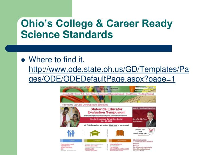 Ohio's College & Career Ready Science Standards