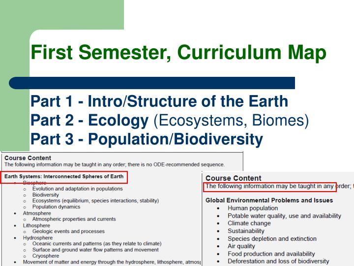 First Semester, Curriculum Map