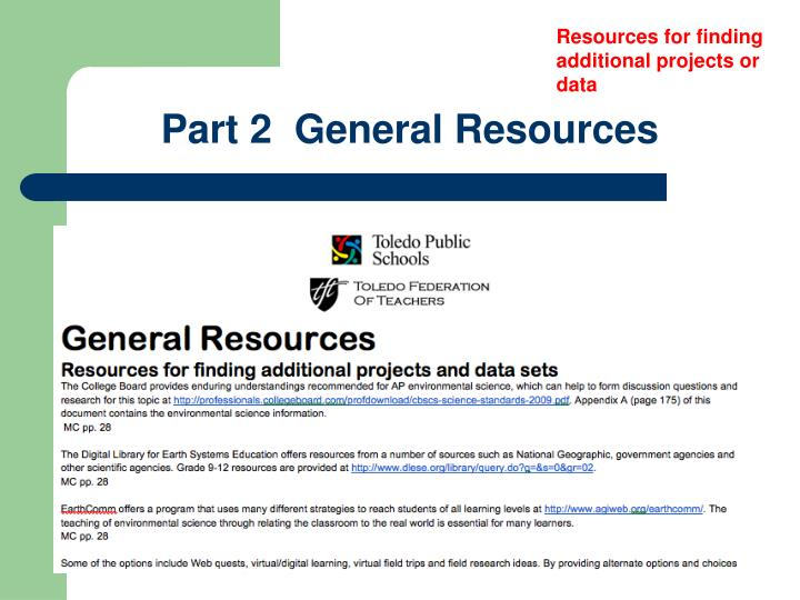 Resources for finding