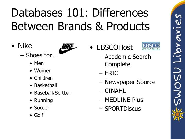 Databases 101: Differences Between Brands & Products