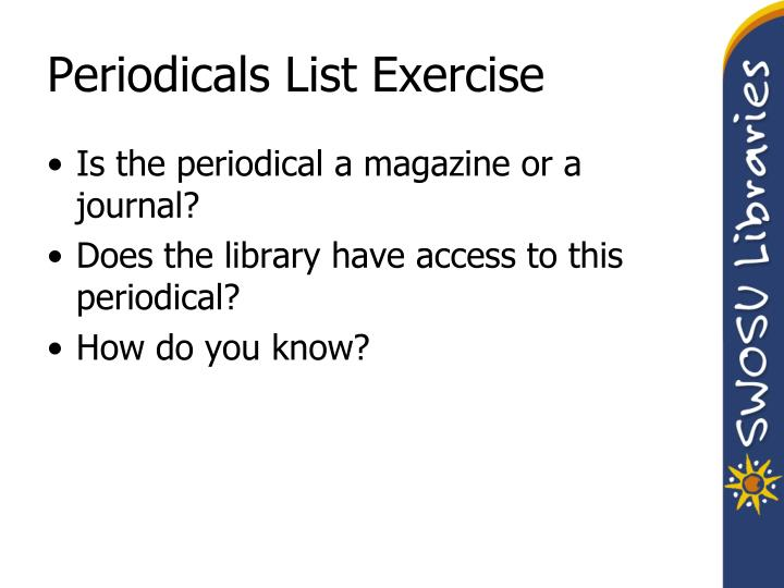 Periodicals List Exercise