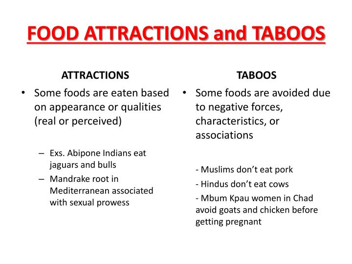 FOOD ATTRACTIONS and TABOOS