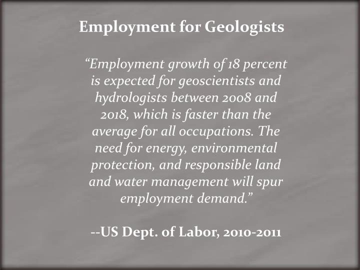 Employment for Geologists