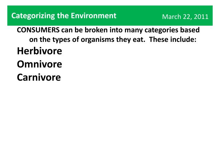 Categorizing the Environment