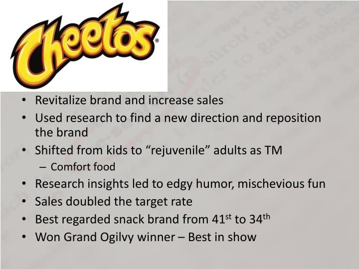 Revitalize brand and increase sales