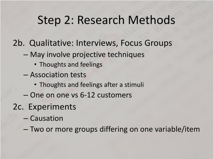 Step 2: Research Methods