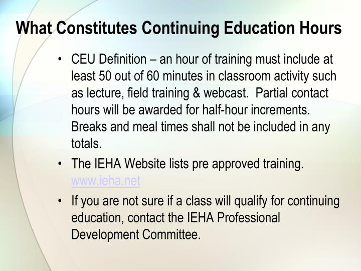 What Constitutes Continuing Education Hours