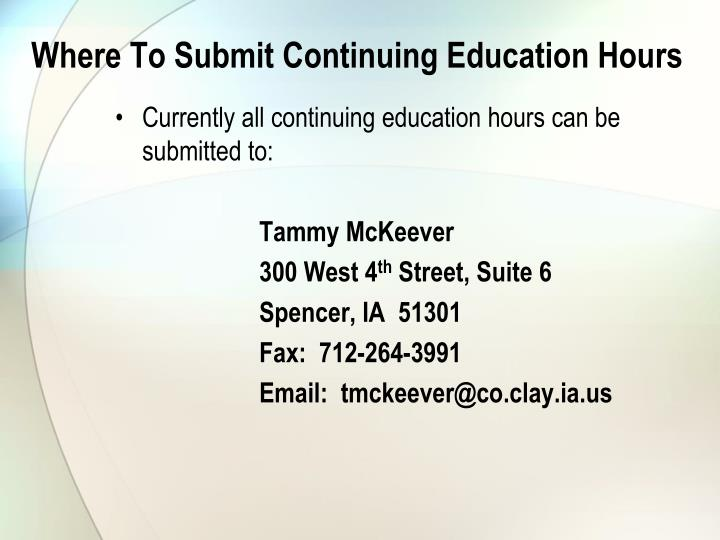 Where To Submit Continuing Education Hours