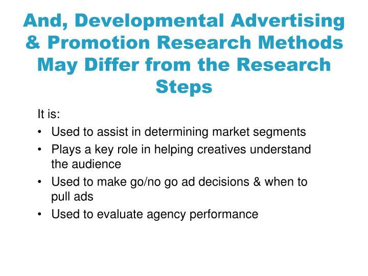 And, Developmental Advertising