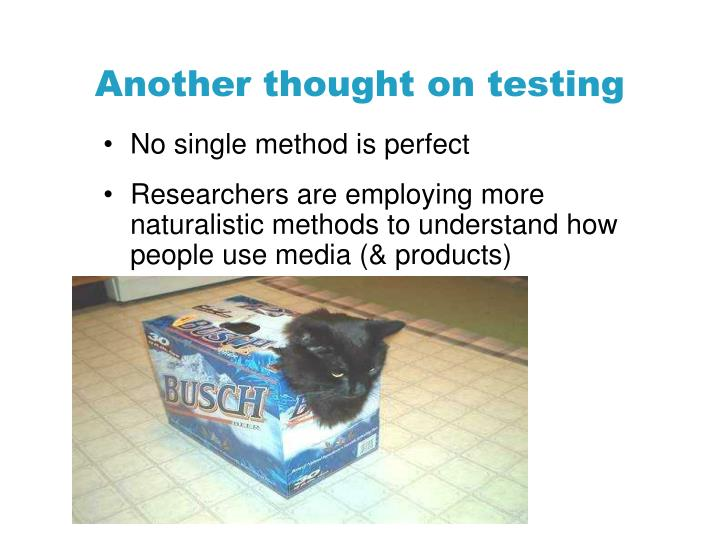 Another thought on testing