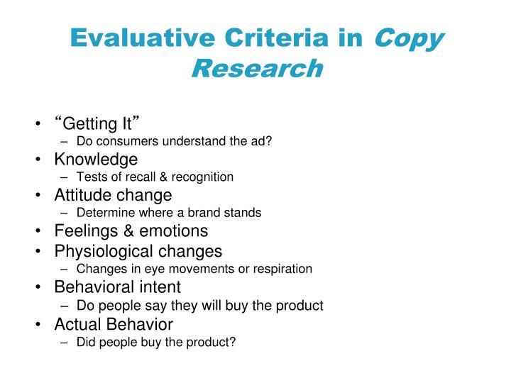 Evaluative Criteria in