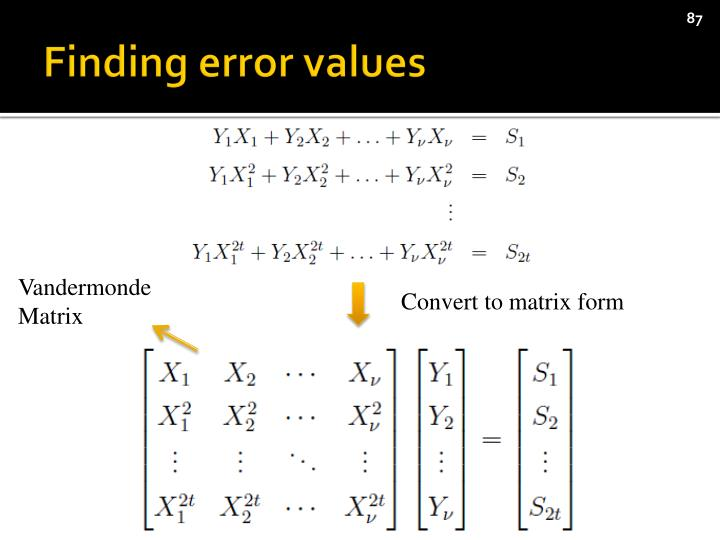 Finding error values