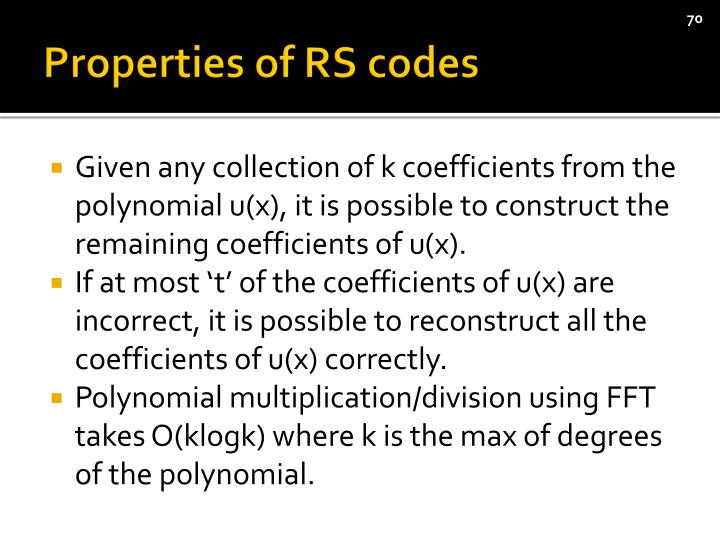 Properties of RS codes