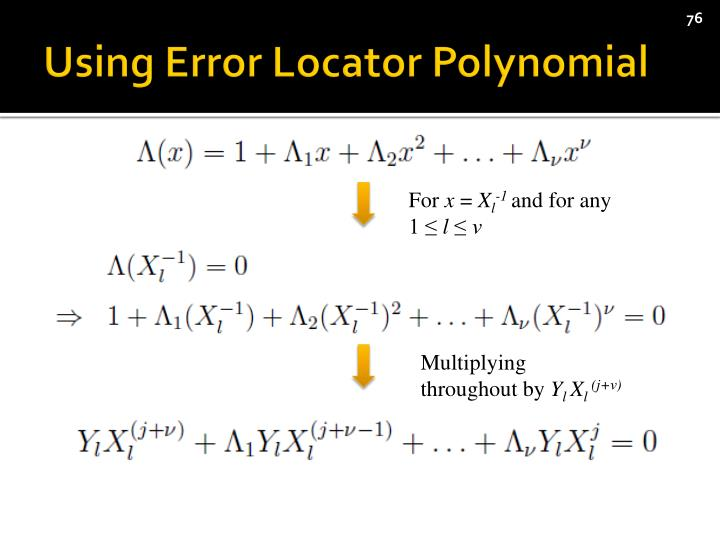Using Error Locator Polynomial