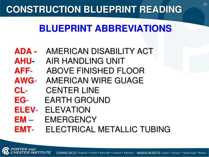 Ppt construction blueprint reading powerpoint presentation id construction blueprint reading blueprint abbreviations malvernweather Choice Image