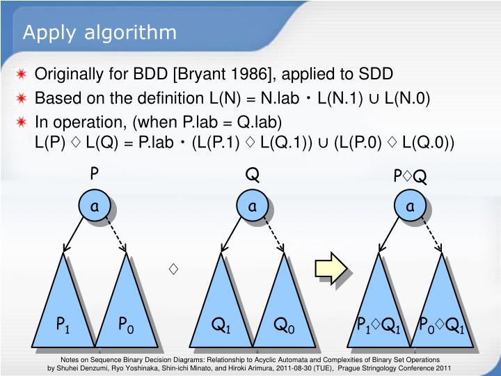 Apply algorithm