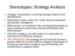 stereotypes strategy analysis