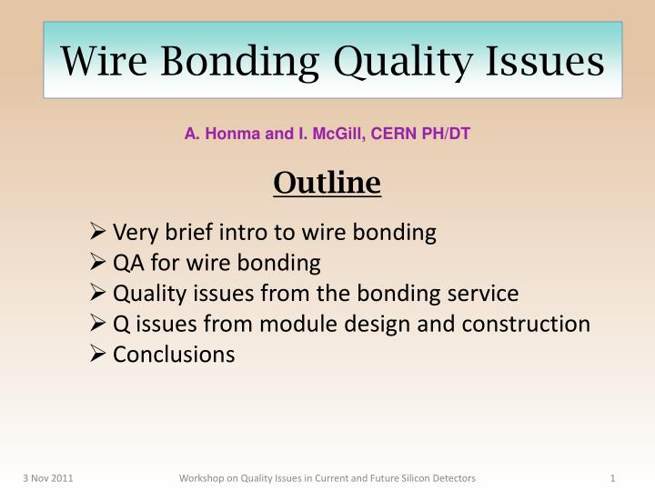 wire bonding quality issues n.