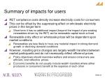 summary of impacts for users