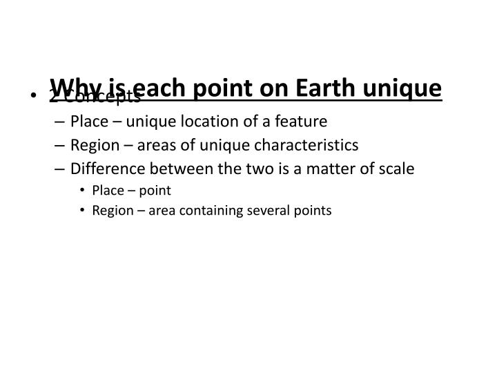 Why is each point on earth unique
