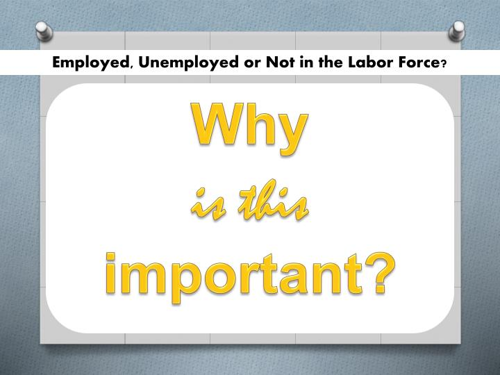 Employed, Unemployed or Not in the Labor Force?