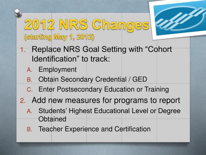 2012 NRS Changes