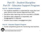 part iii student discipline part iv educator support program
