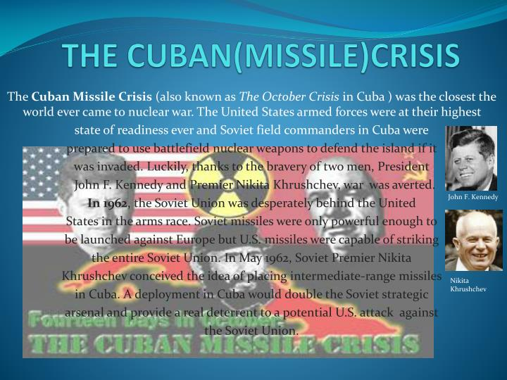 an analysis of the cuban missile crisis in the united states and russia The clock of the cuban crisis began ticking on october 16, 1962, when president kennedy was notified that us spy planes had detected medium-range ballistic missiles in cuba which could target much of the united states.