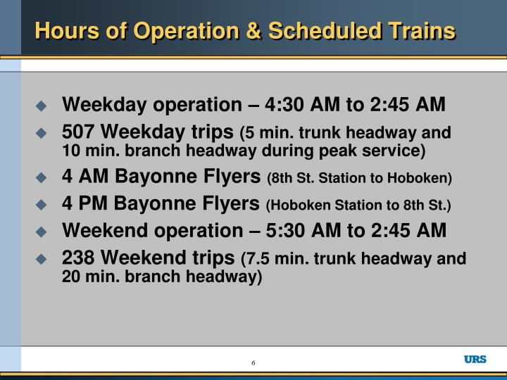 Hours of Operation & Scheduled Trains