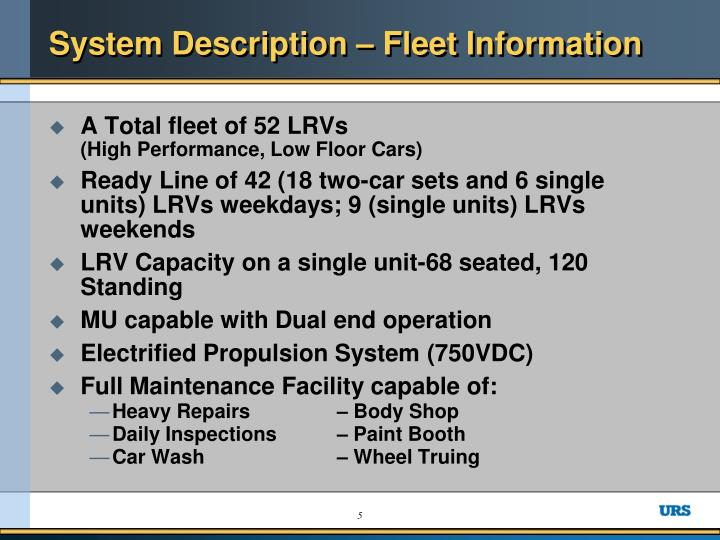 System Description – Fleet Information