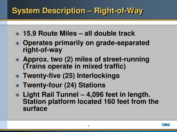 System Description – Right-of-Way