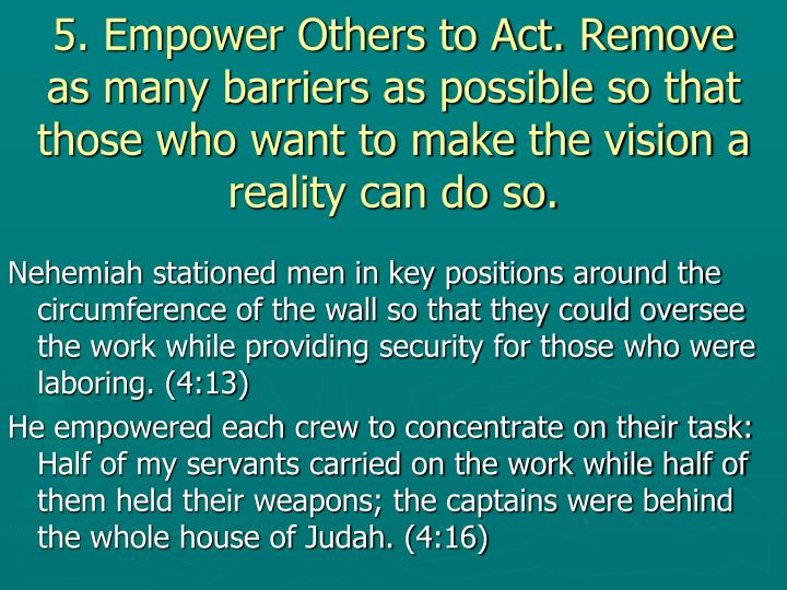 5. Empower Others to Act. Remove as many barriers as possible so that those who want to make the vision a reality can do so.