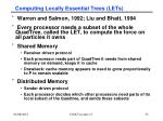 computing locally essential trees lets