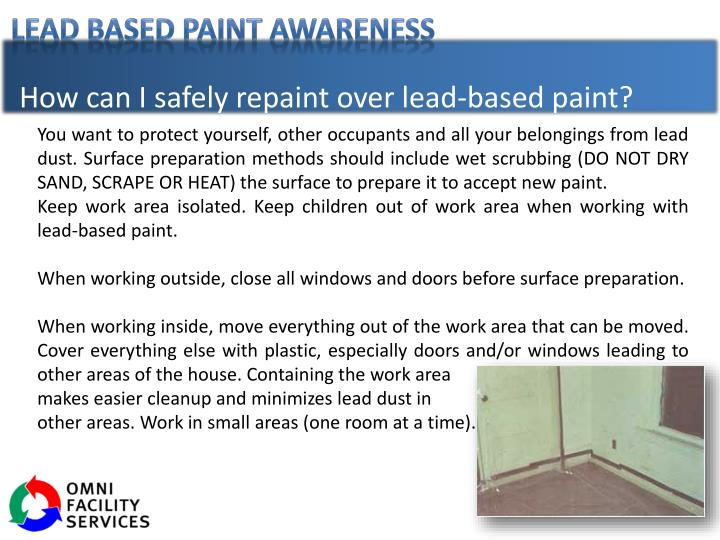 How can I safely repaint over lead-based paint?