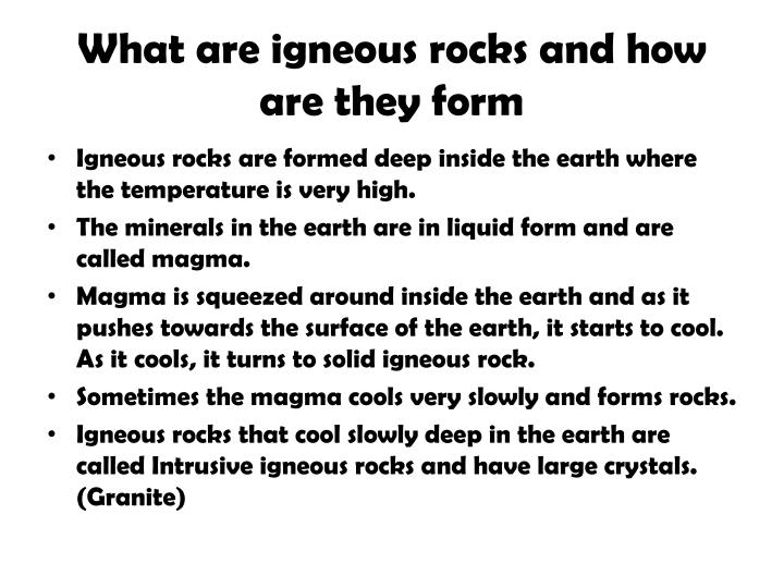 What are igneous rocks and how are they form