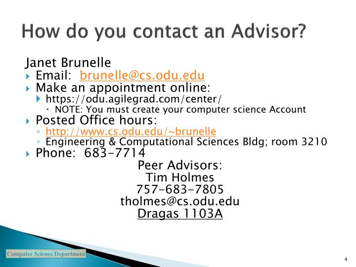 How do you contact an advisor