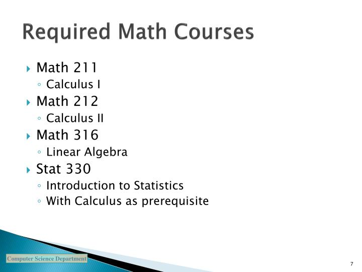 Required Math Courses