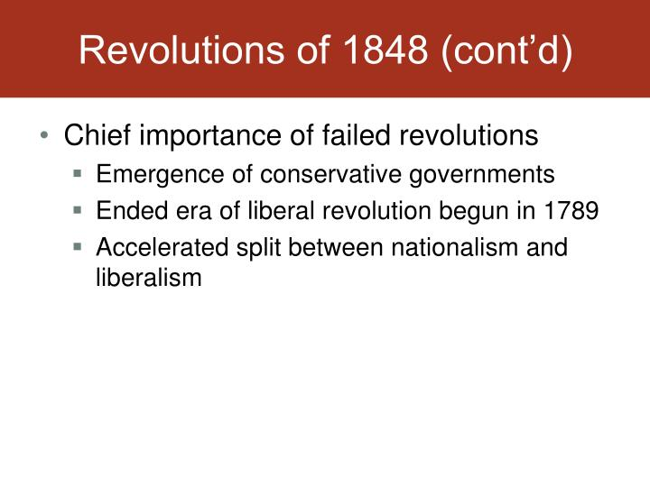 Revolutions of 1848 (cont'd)